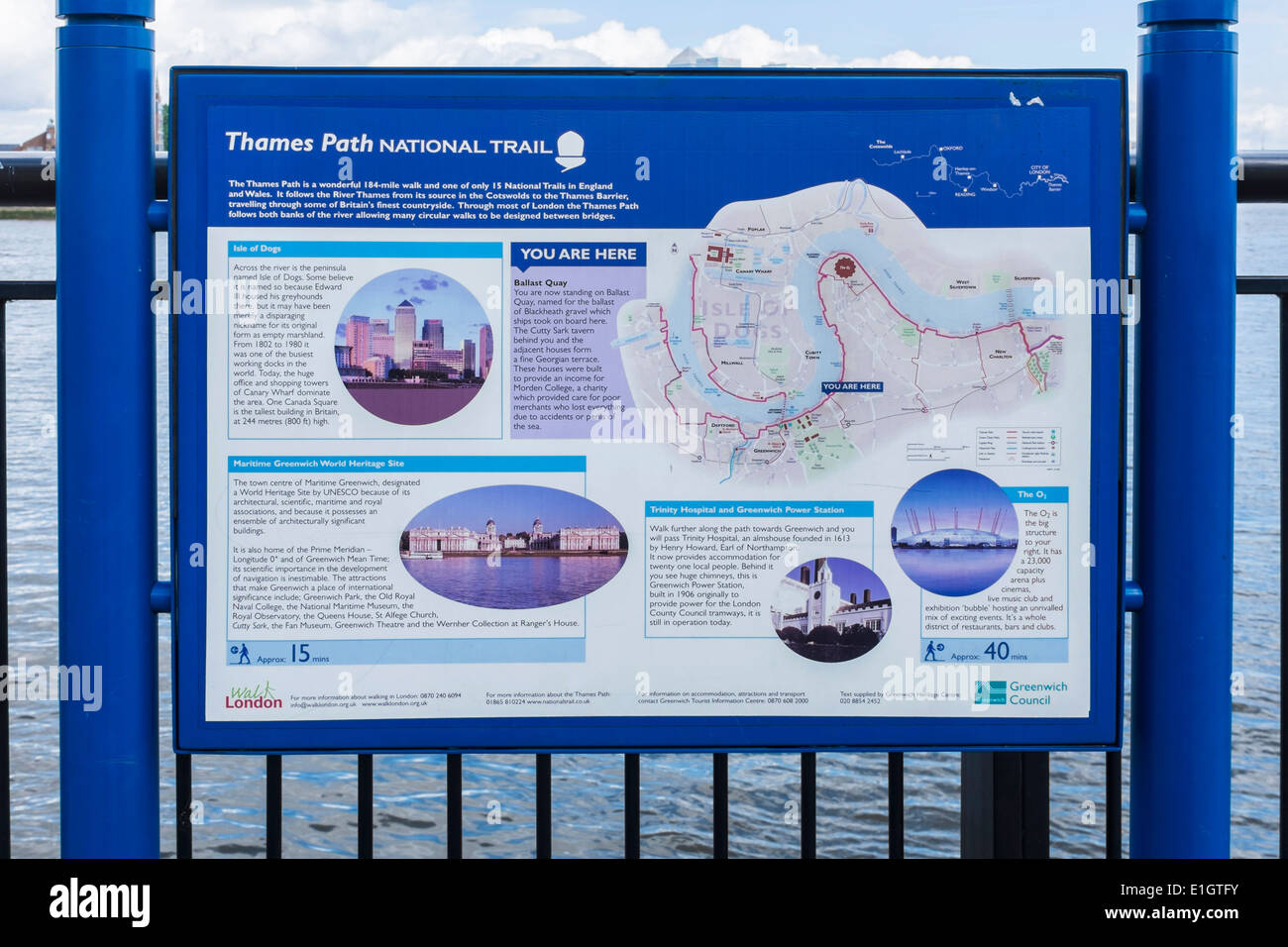 Thames Path National Route sign and map showing route along the river Thames, Ballast Quay, Greenwich, SE London Stock Photo