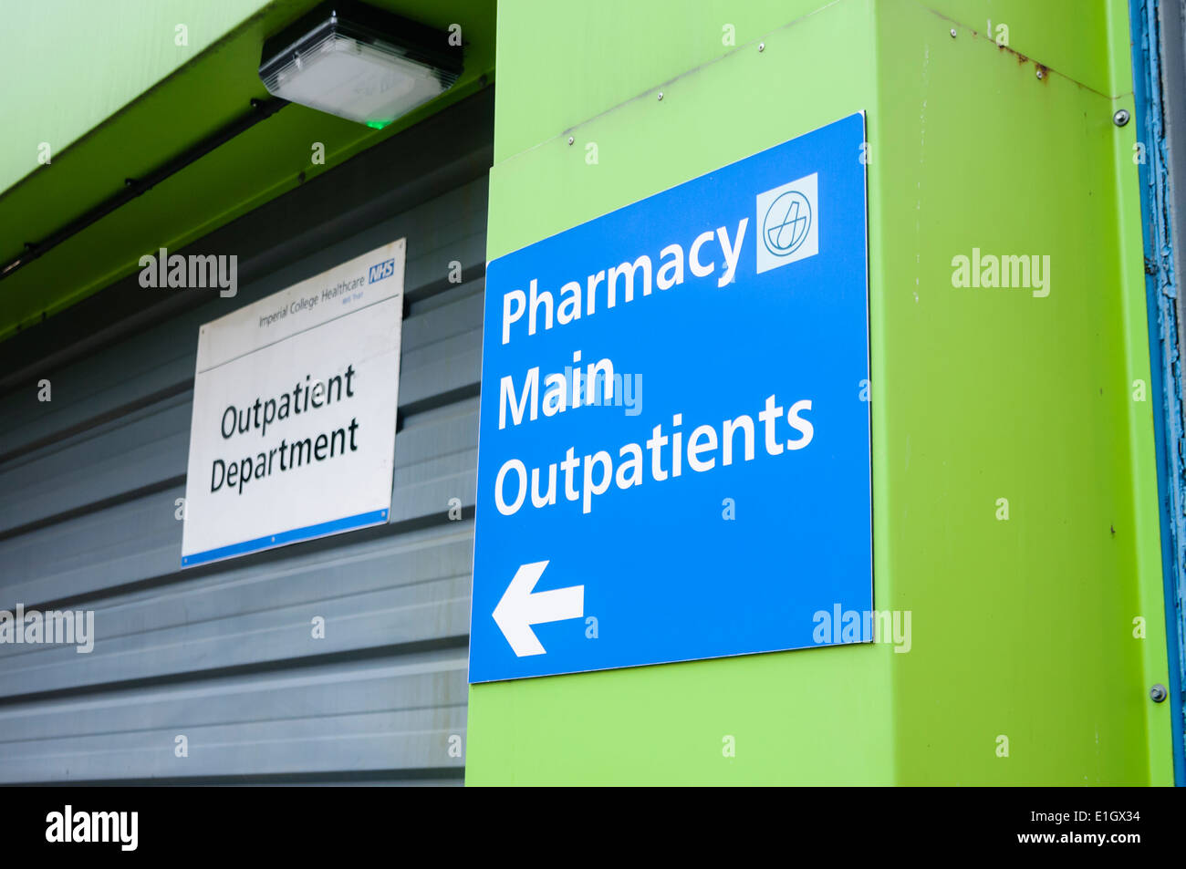 Sign for Pharmacy and Main Outpatients at a UK hospital - Stock Image