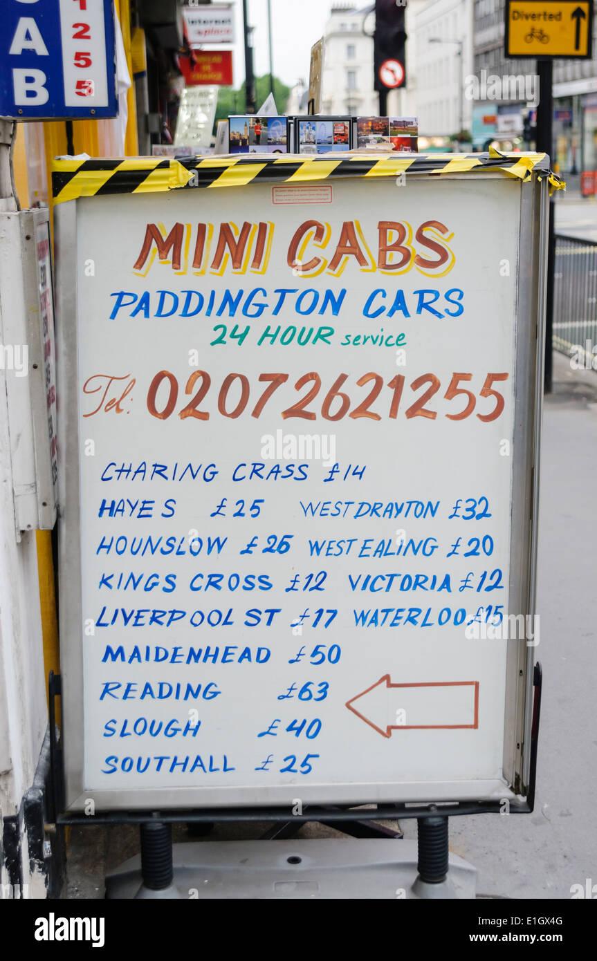 Paddington Cars, Mini Cabs - Stock Image