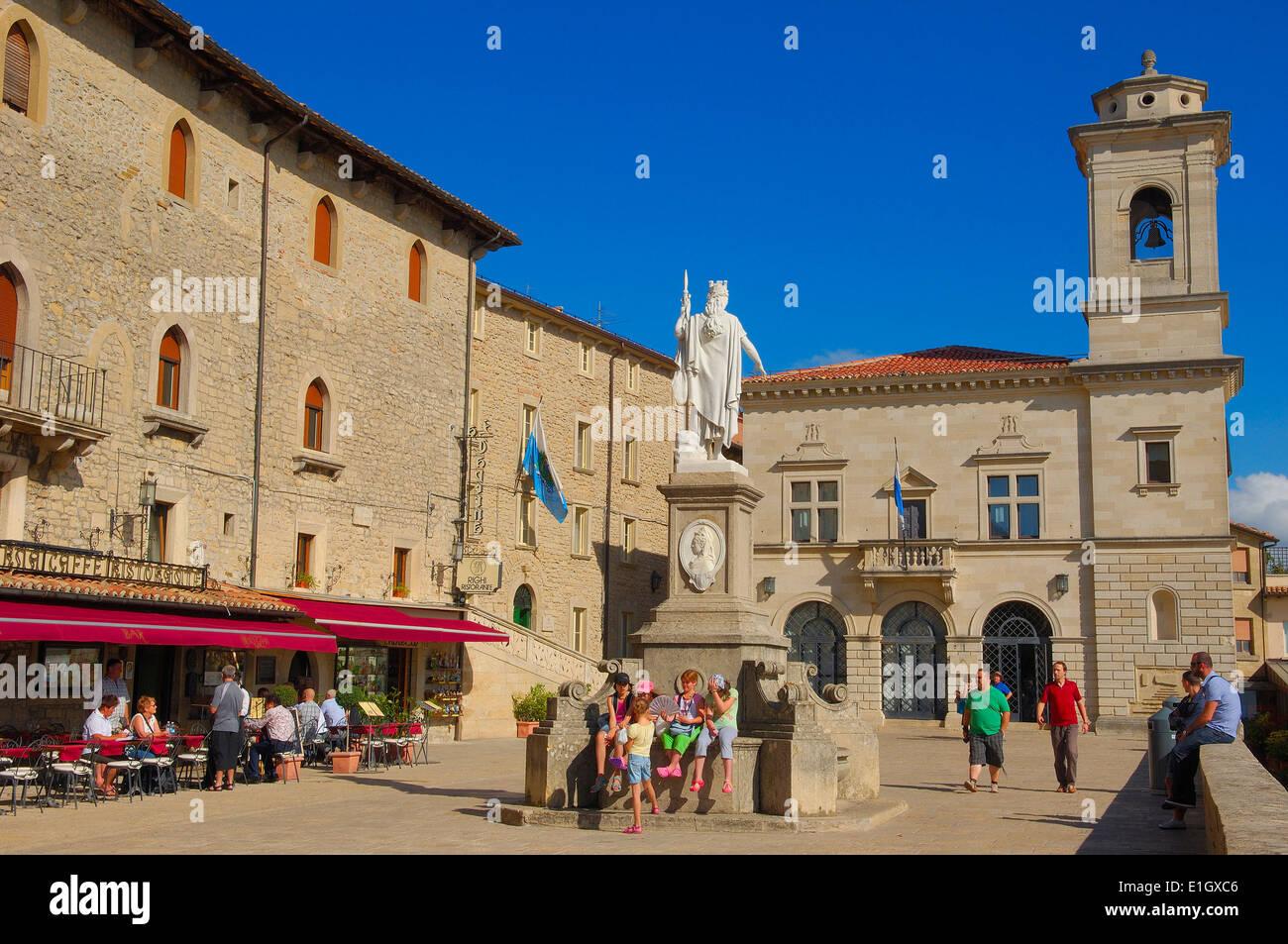 San Marino. Piazza della Libertà, Liberty Statue, Monte Titano. Republic of San Marino. Italy. Europe - Stock Image