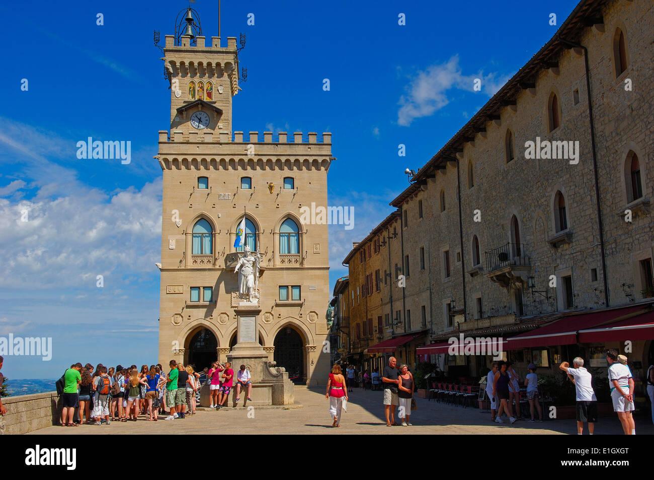 San Marino. Palazzo Pubblico. Piazza della Libertà; Liberty Statue; Monte Titano. Republic of San Marino. Italy. Europe - Stock Image