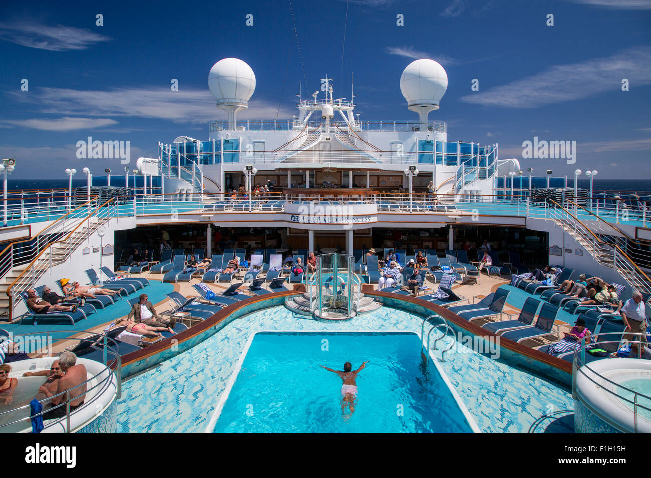 Mid Ship Pool On Board Emerald Princess Cruise Ship At Sea