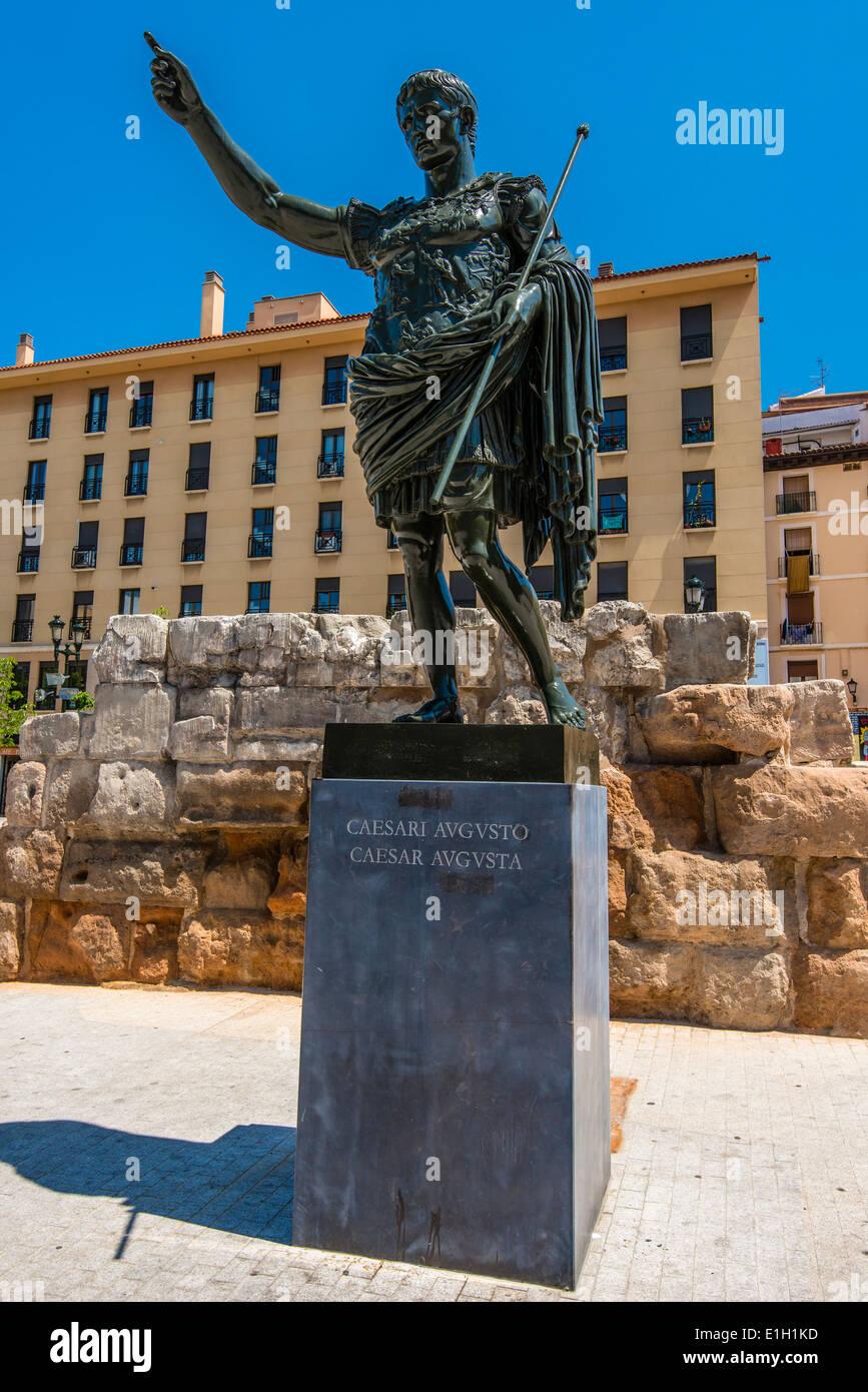 Bronze sculpture of Gaius Julius Caesar Augustus roman emperor, Zaragoza, Aragon, Spain - Stock Image