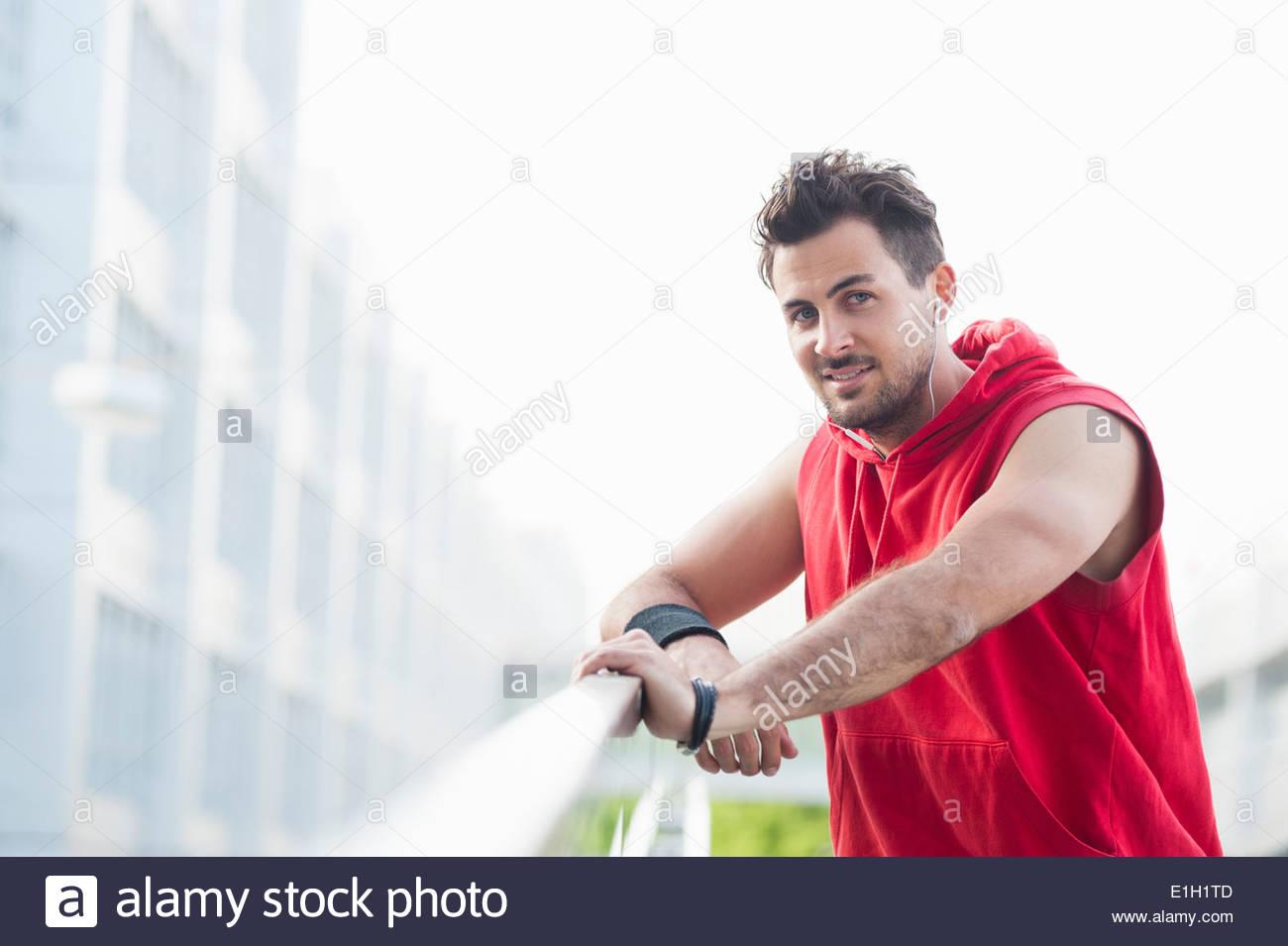 Jogger taking break - Stock Image