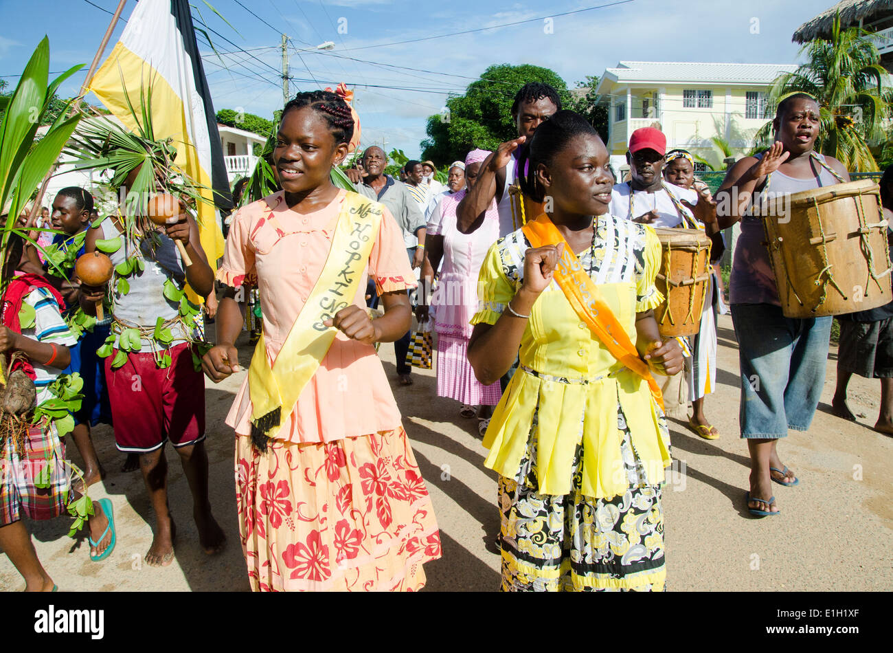 Hopkins Village, Belize, - November 19, 2013: The annual Garifuna Settlement day celebrations in full flow. - Stock Image