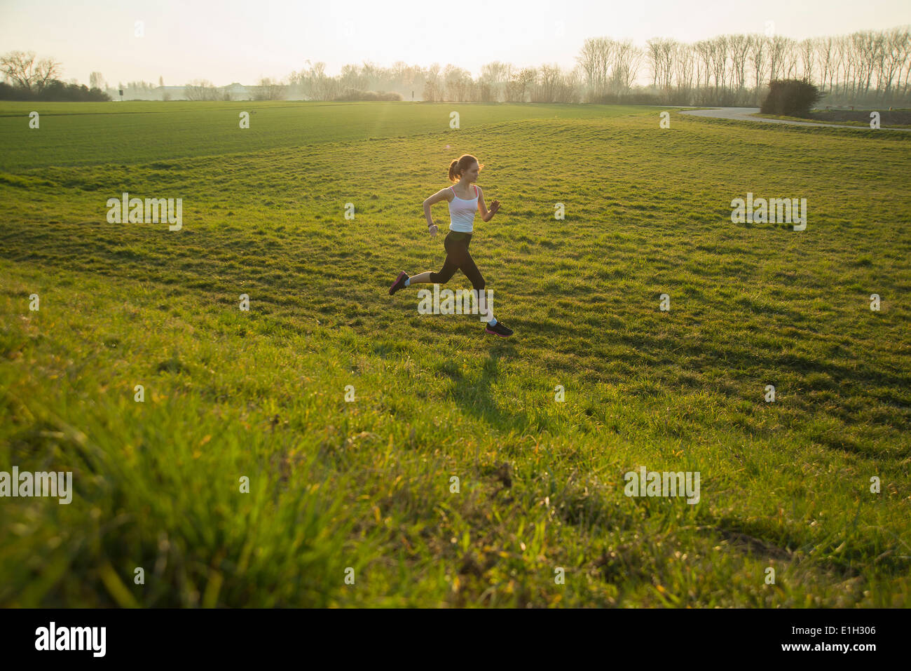 Young female runner in hilly field - Stock Image