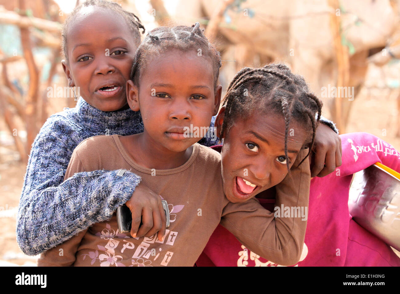 Young girls in Africa - going back to school - Stock Image