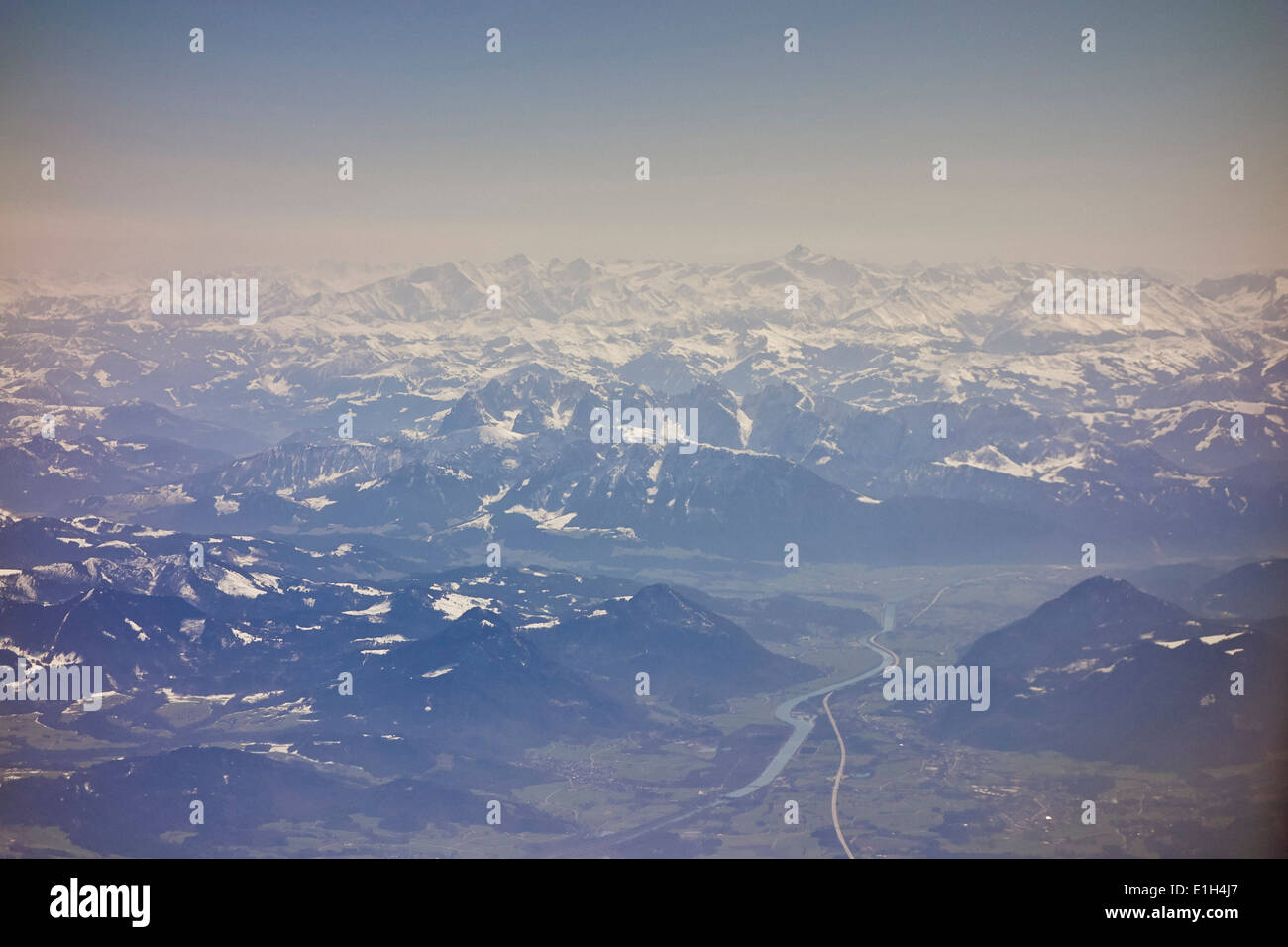 Birdseye view of German Alps, South Munich, Germany - Stock Image