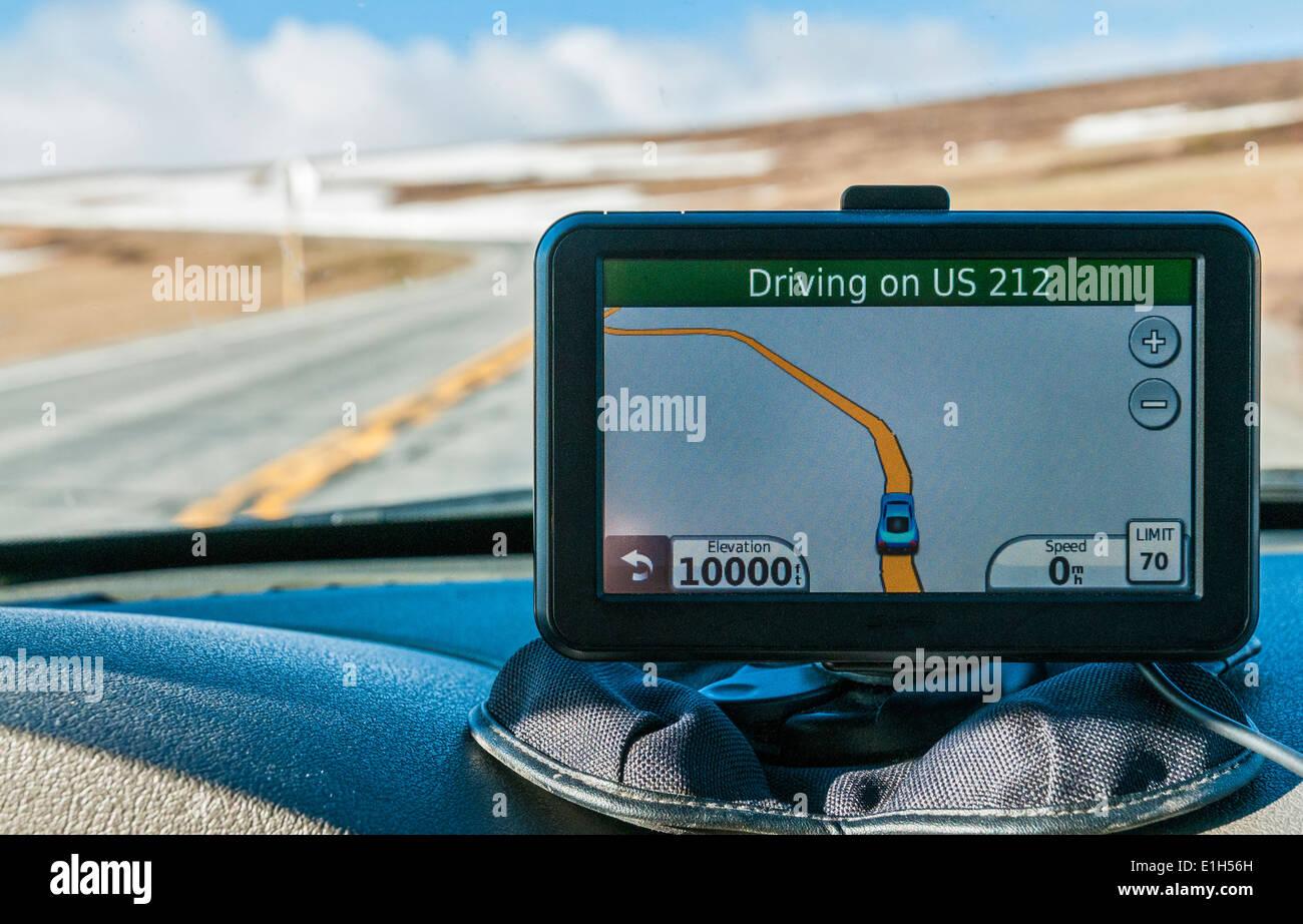 Wyoming, Beartooth Highway near summit at 10000 feet, GPS device - Stock Image
