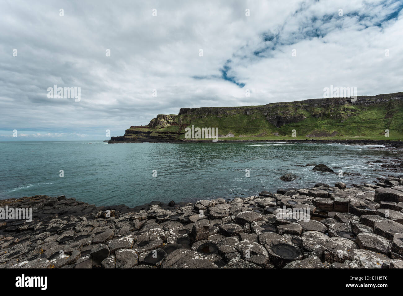 View of Giants Causeway, Bushmills, County Antrim, Northern Ireland, UK - Stock Image