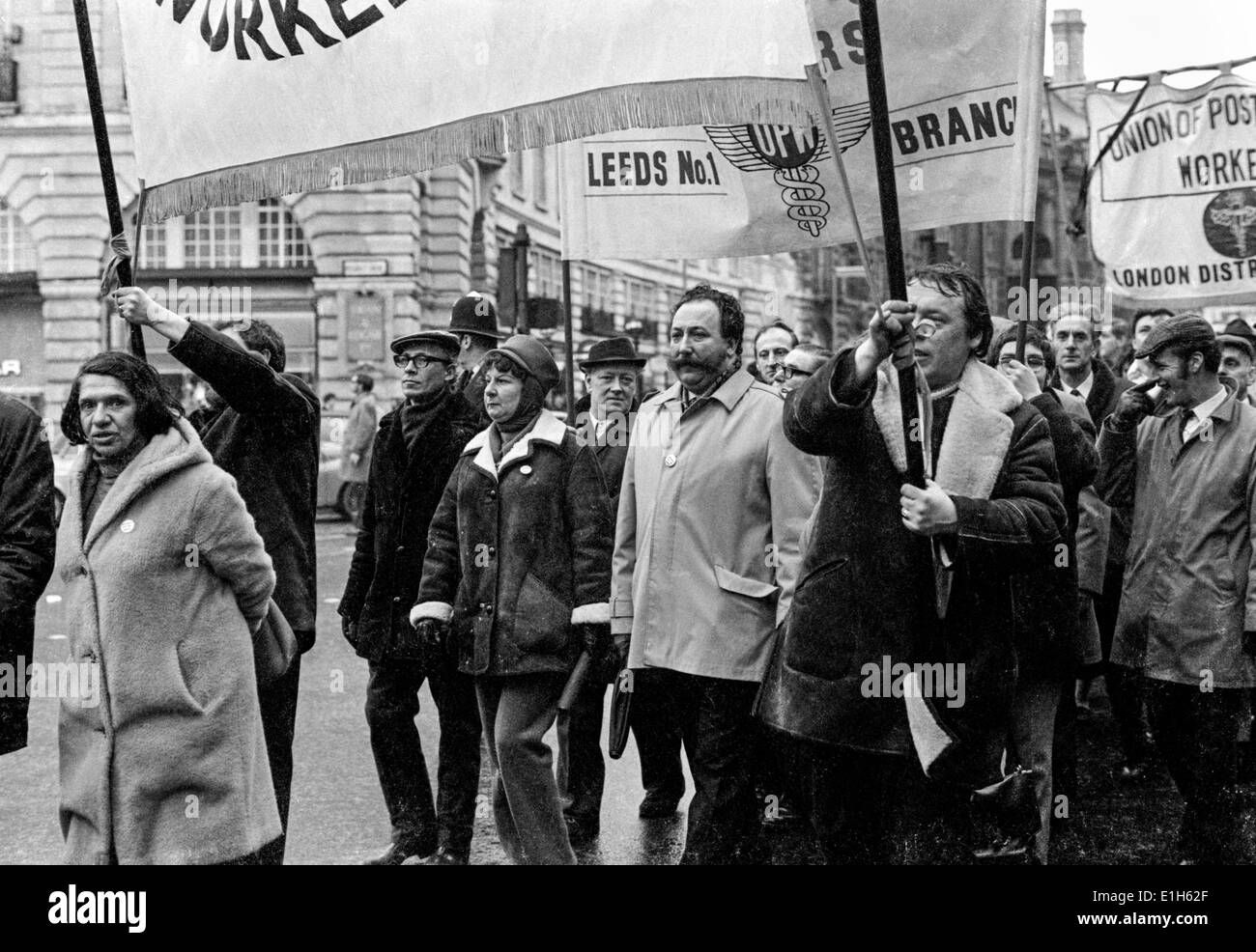 Postal workers striking in solidarity with coal miners, marching in London, March 1972 - Stock Image