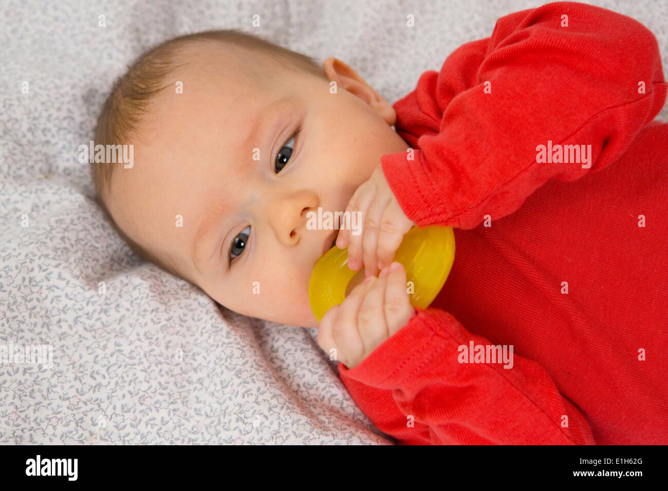7 month old baby girl in crib with teething ring in her mouth - Stock Image