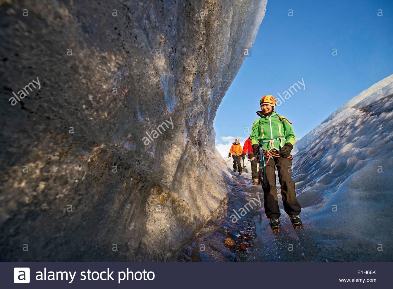 Group of climbers exploring ice, Svinafellsjokull, Vatnajokull National Park, Iceland - Stock Image