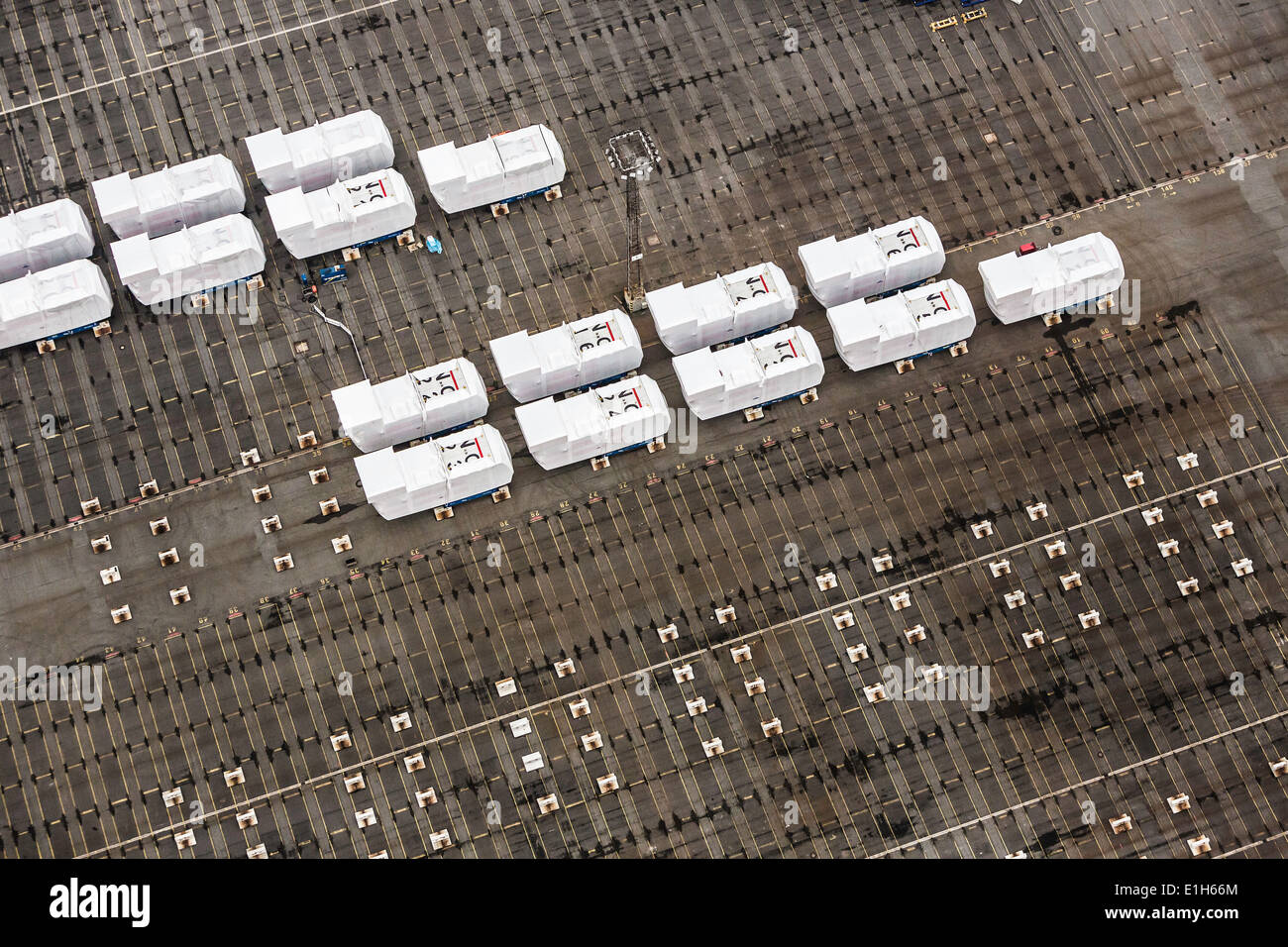 Rows of nacelles, component part for off shore wind turbines, Bremerhaven, Bremen, Germany - Stock Image