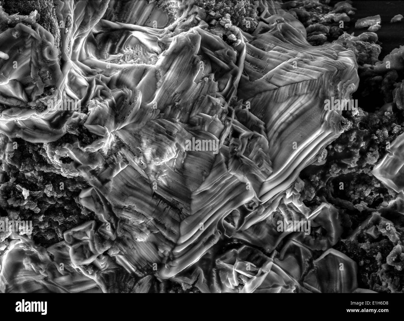 Scanning electron micrograph image of iron oxide formations with chlorine and sulphur present Stock Photo