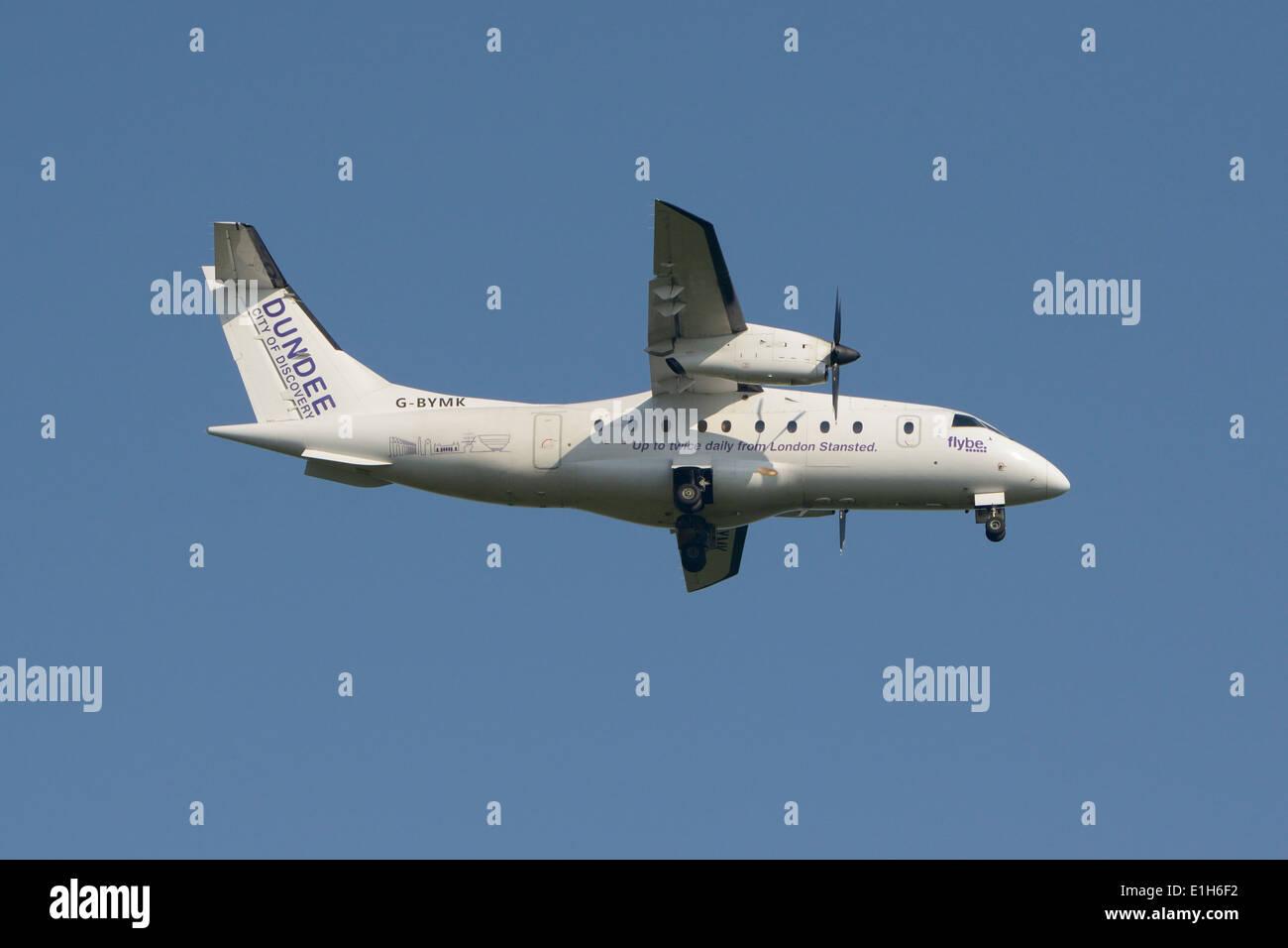 Flyebe (Scot Airways) Dornier 328-100 on final approach - Stock Image