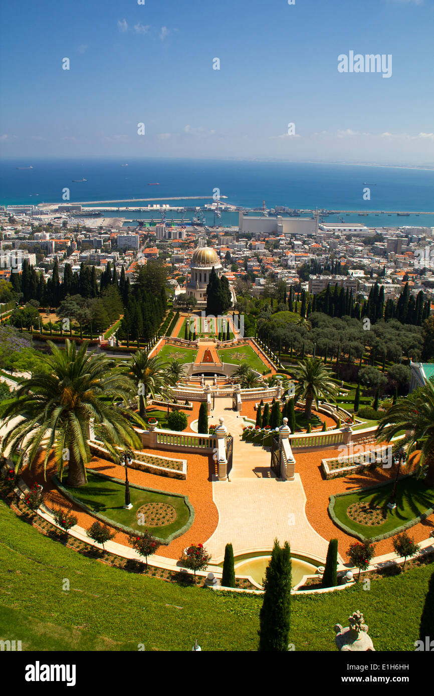 City of Haifa in Israel from the Bahai Garden ,View to Sea and habor - Stock Image
