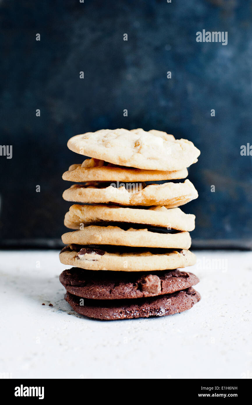 Still life of a stack of home baked biscuits - Stock Image