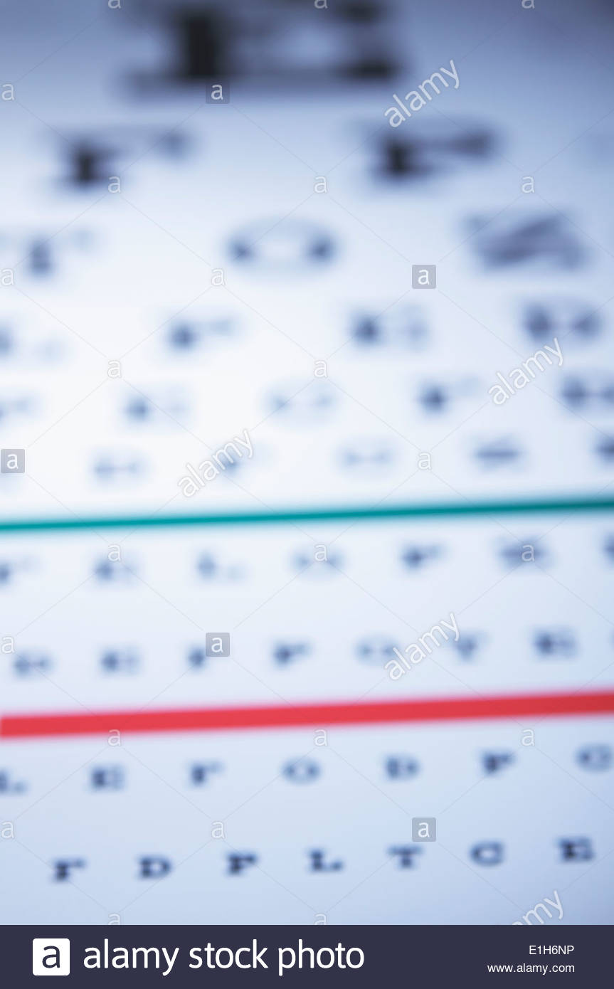 Myopia. Snellen eye chart at an oblique angle. The letters are increasingly blurred as the distance is increased - Stock Image