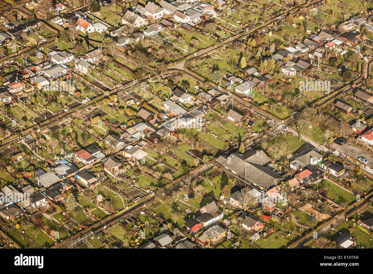 Aerial view of gridded house and garden plots, Bremerhaven, Bremen, Germany - Stock Image