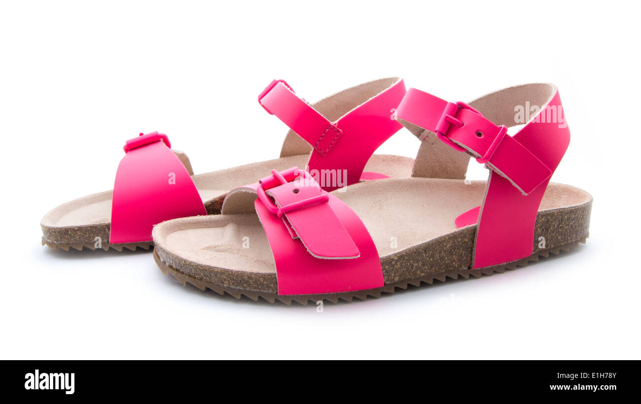 two pink sandals isolated on white background - Stock Image