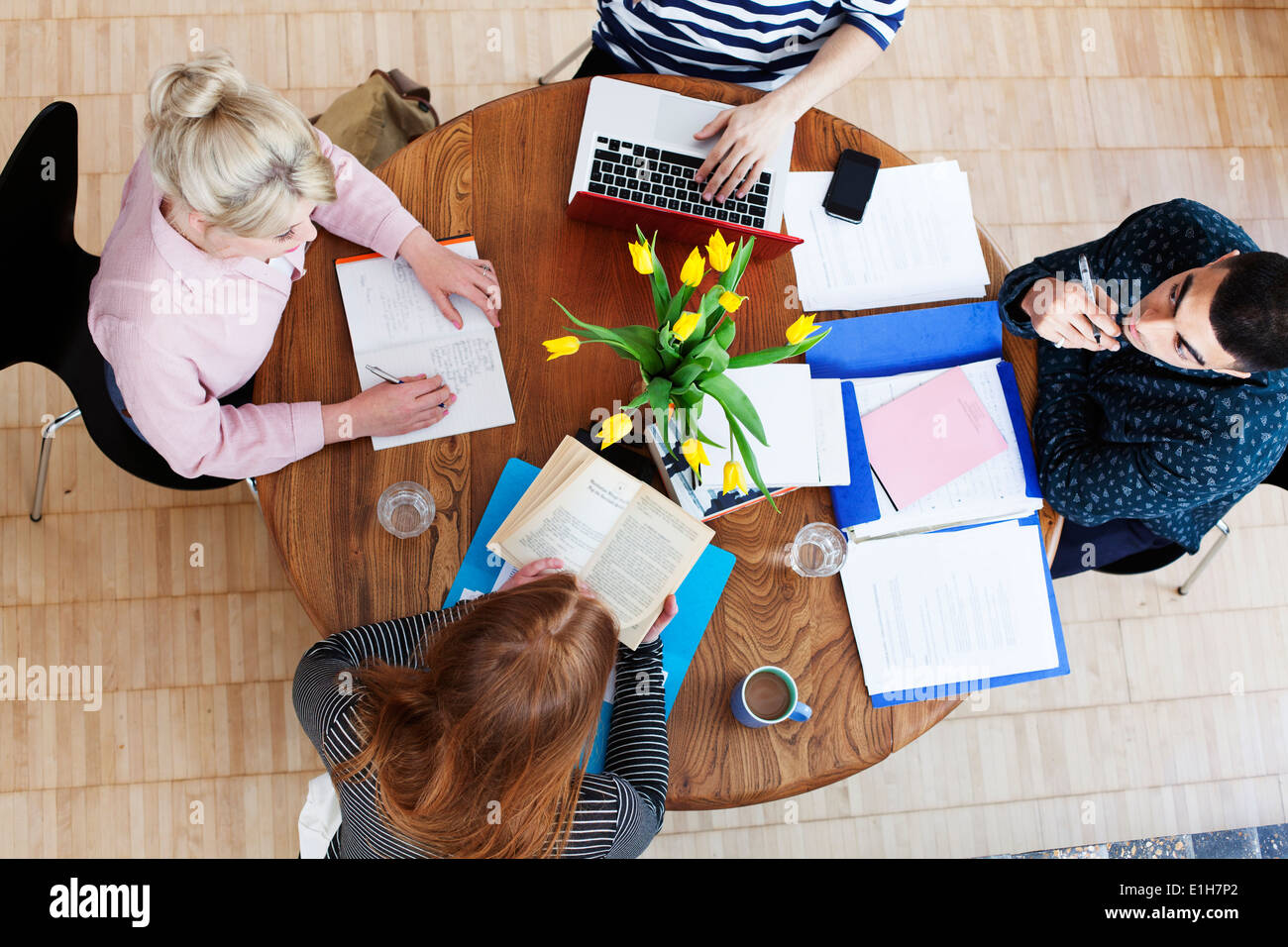 Aerial view of four young adults sitting around table studying - Stock Image