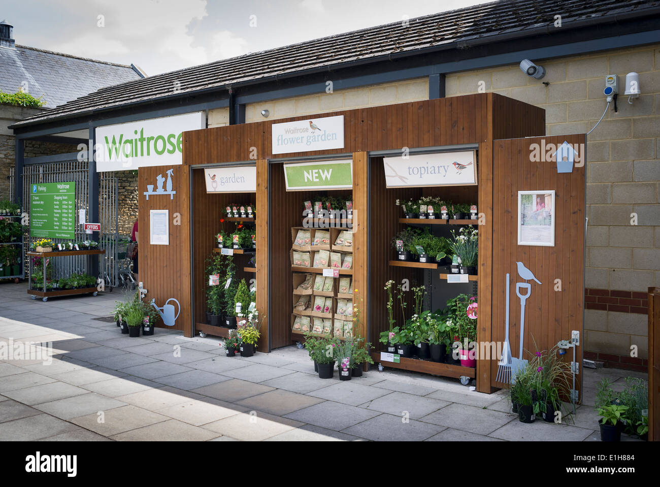 Waitrose flower garden supply point at an English supermarket - Stock Image