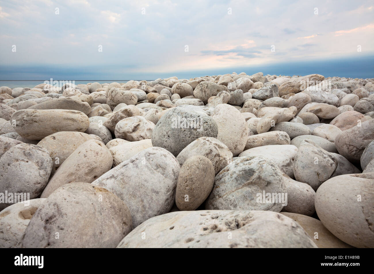 Hundreds of rounded rocks bleached by the sun cover this vast shoreline. Bruce Peninsula National Park, Ontario, Canada. - Stock Image