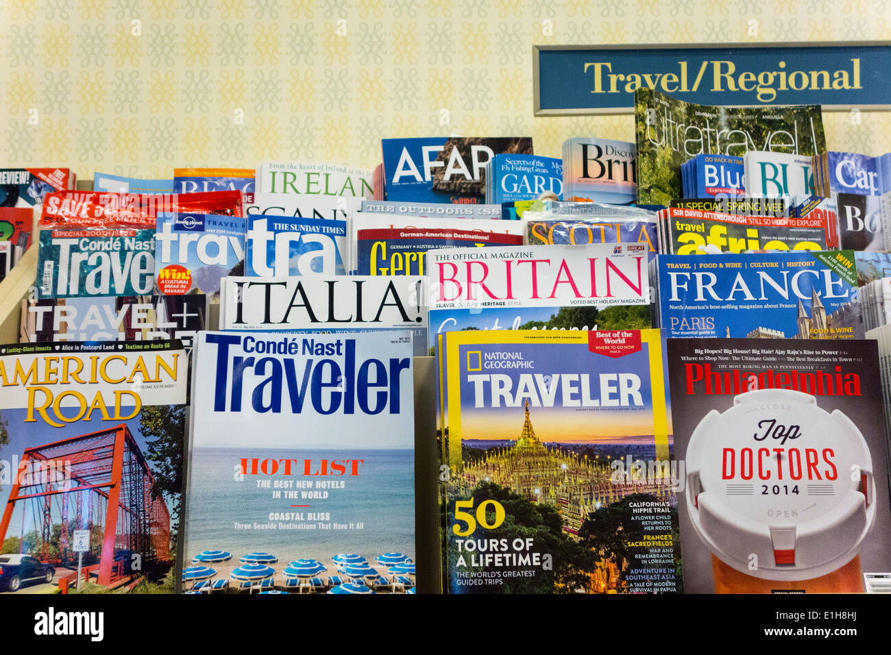 travel and regional magazines on shelves, Barnes and Noble, USA - Stock Image