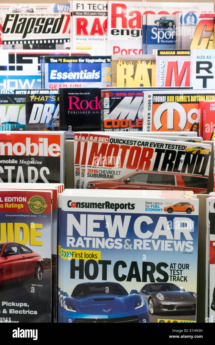 car magazines on shelves, Barnes and Noble, USA Stock Photo ...