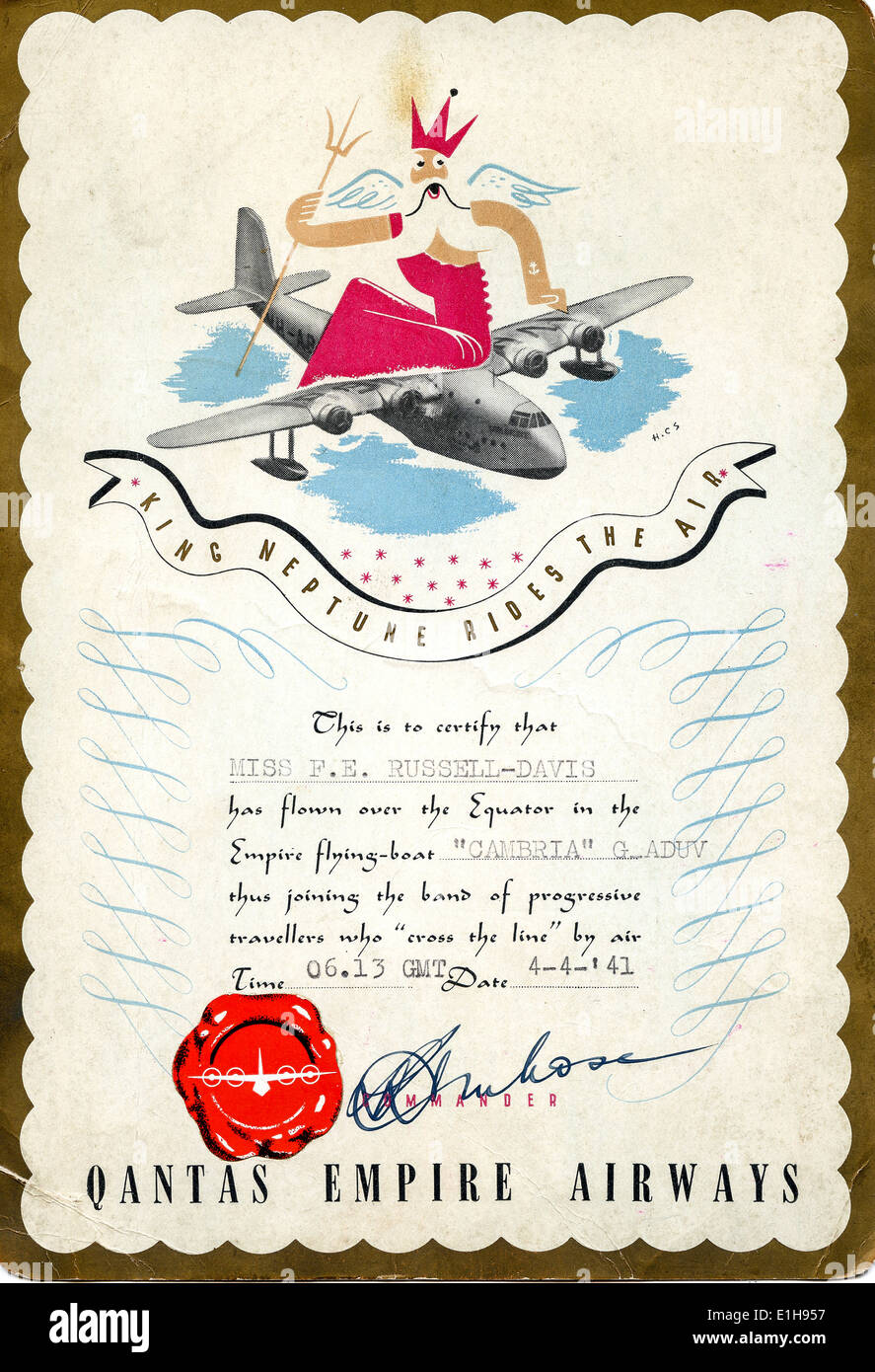 9169abb0153 Historic flying boat certificate issued by QUANTAS Empire Airways in  Australia commemorating crossing the Equator by