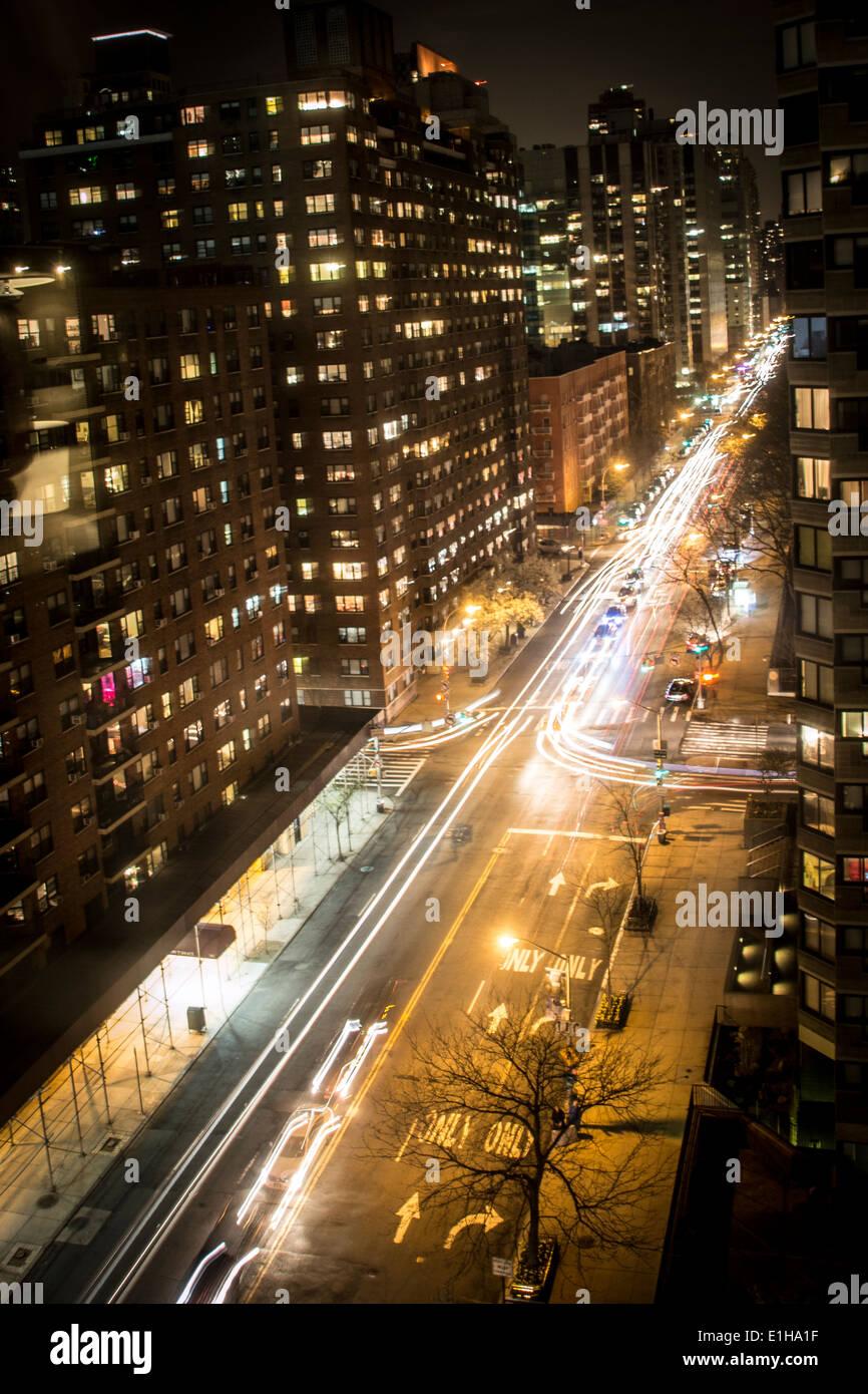 Light trail, East 62nd street New York city Manhattan island - Stock Image