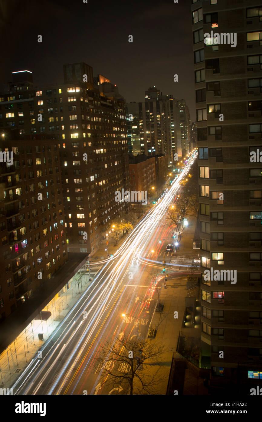 Light trail, East 62nd street New  York Manhattan - Stock Image