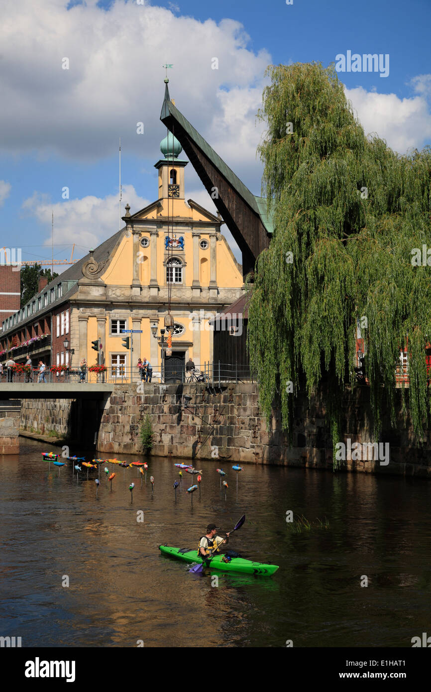 Canoe at river Ilmenau in the old harbour at Stintmarkt,  Lueneburg, Lüneburg, Lower Saxony, Germany, Europe Stock Photo