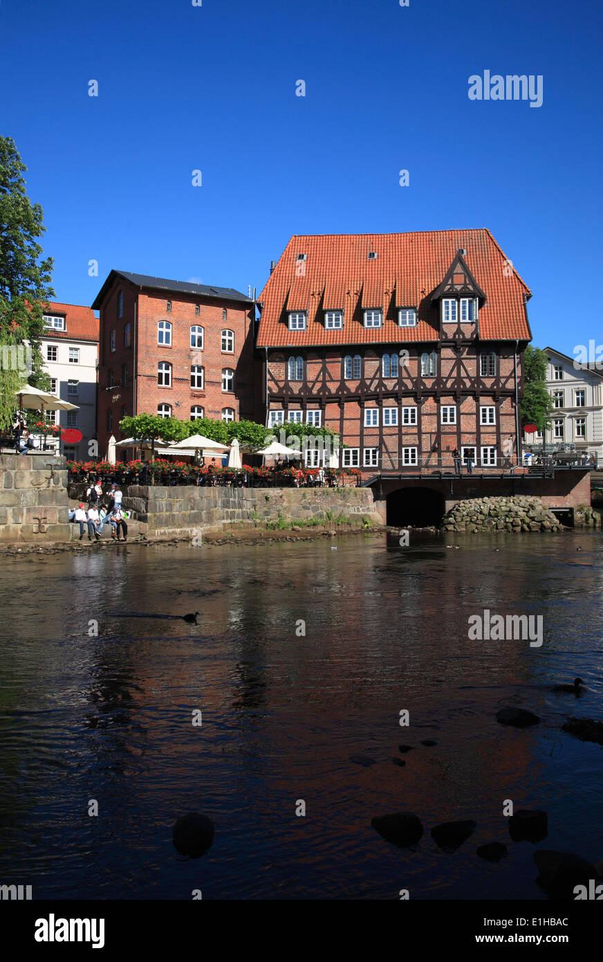 Restaurant LUENER MUEHLE at  the old harbor, Lueneburg, Lower Saxony, Germany, Europe - Stock Image