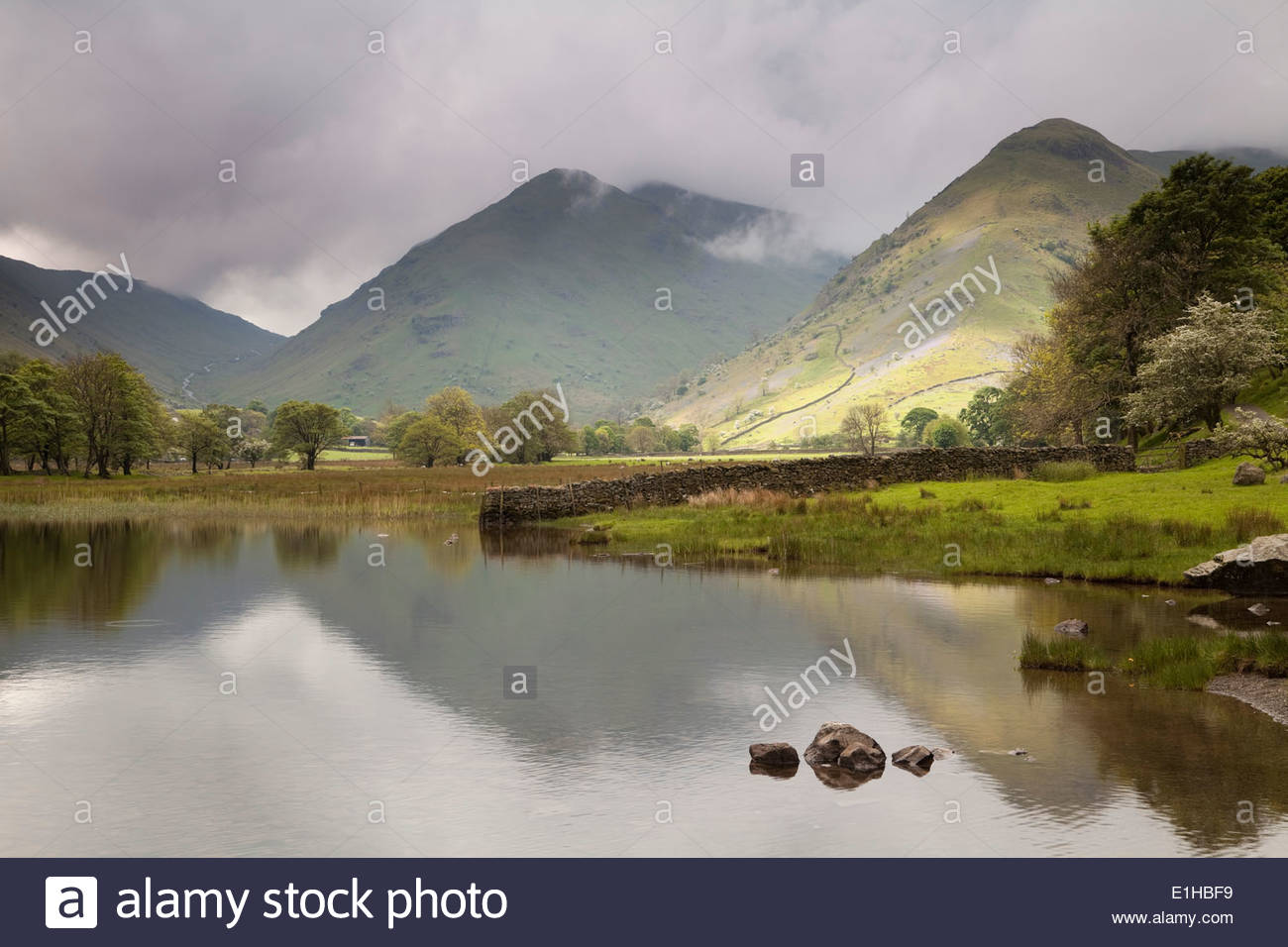 Middle Dodd and High Hartsop Dodd from Brotherswater, Lake District - Stock Image