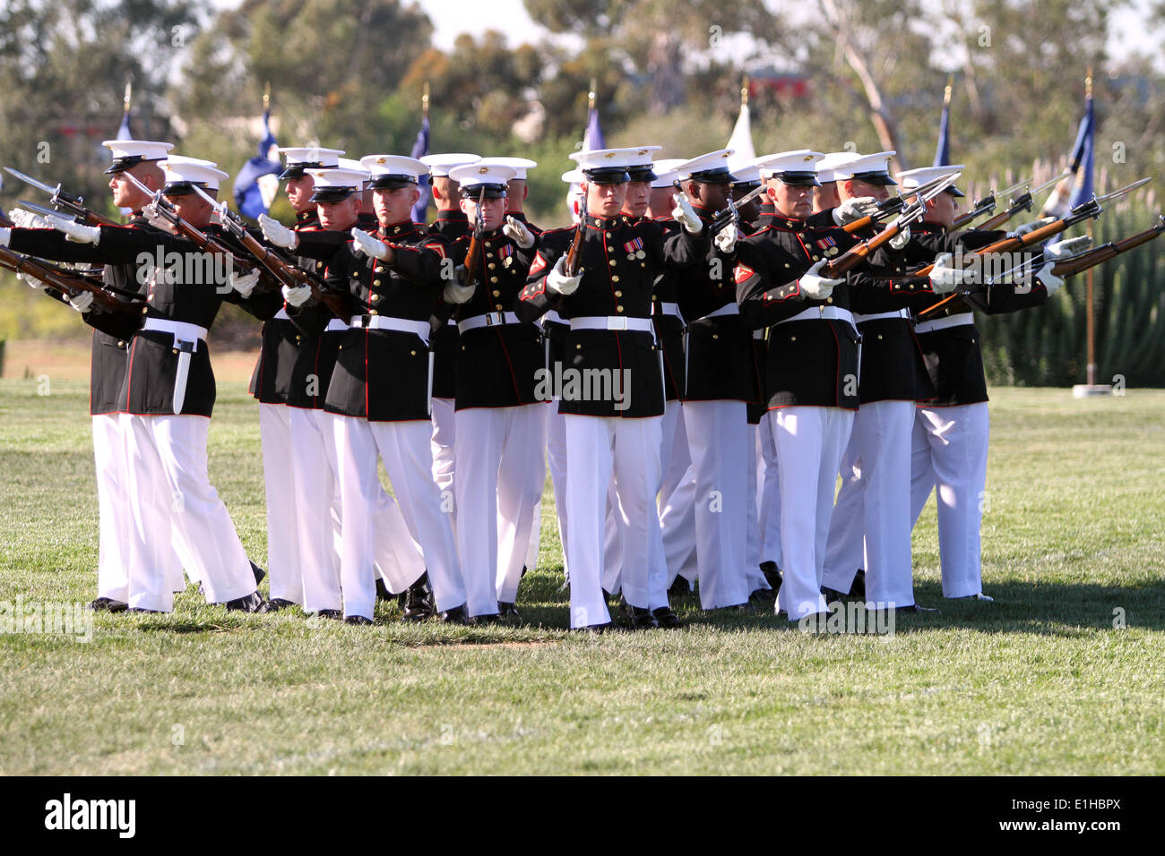 The U.S. Marine Corps Silent Drill Platoon performs during a battle color ceremony at Marine Corps Air Station Miramar, Stock Photo