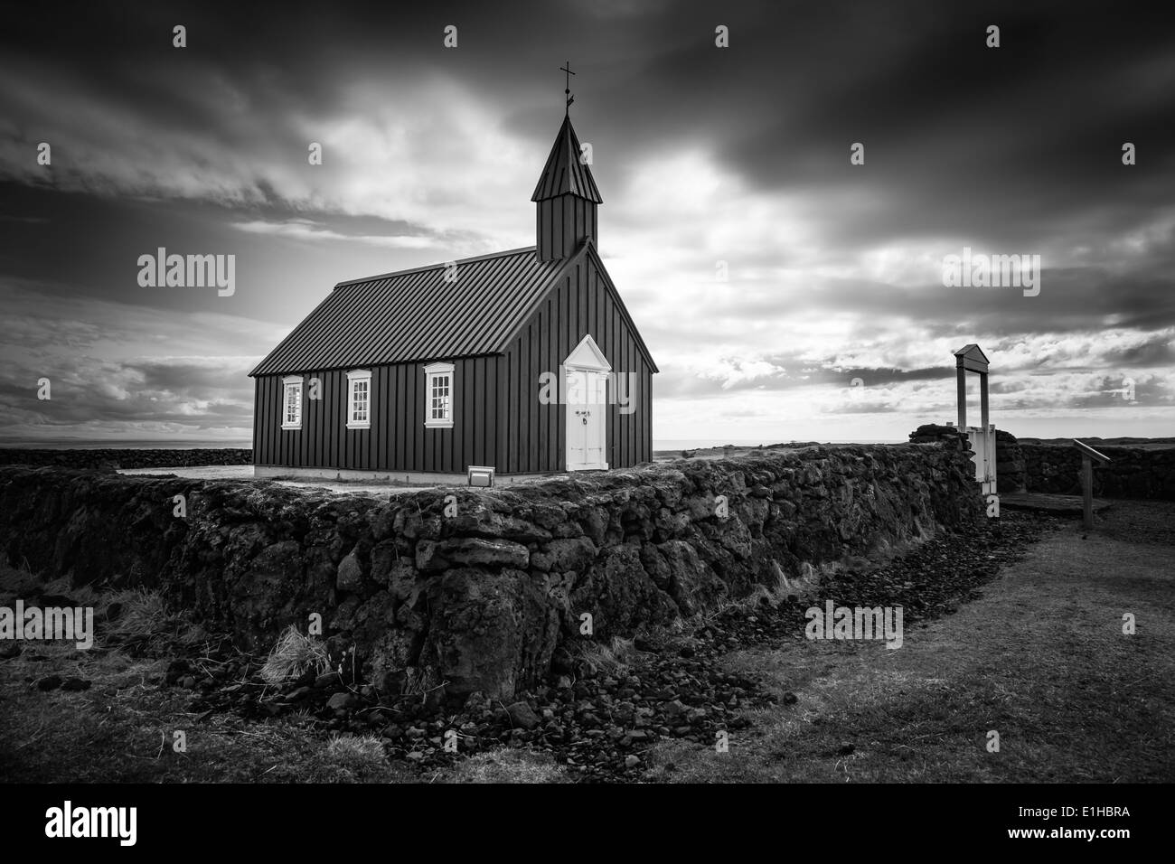 Black and white landscape of Budir Kirkja on the Snaefellsnes Peninsula in west Iceland - Stock Image