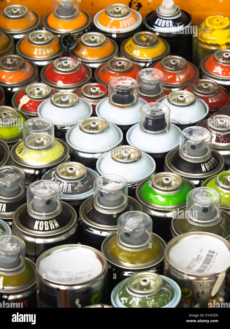 spray paint cans ready to be used by a graffiti artist Stock Photo