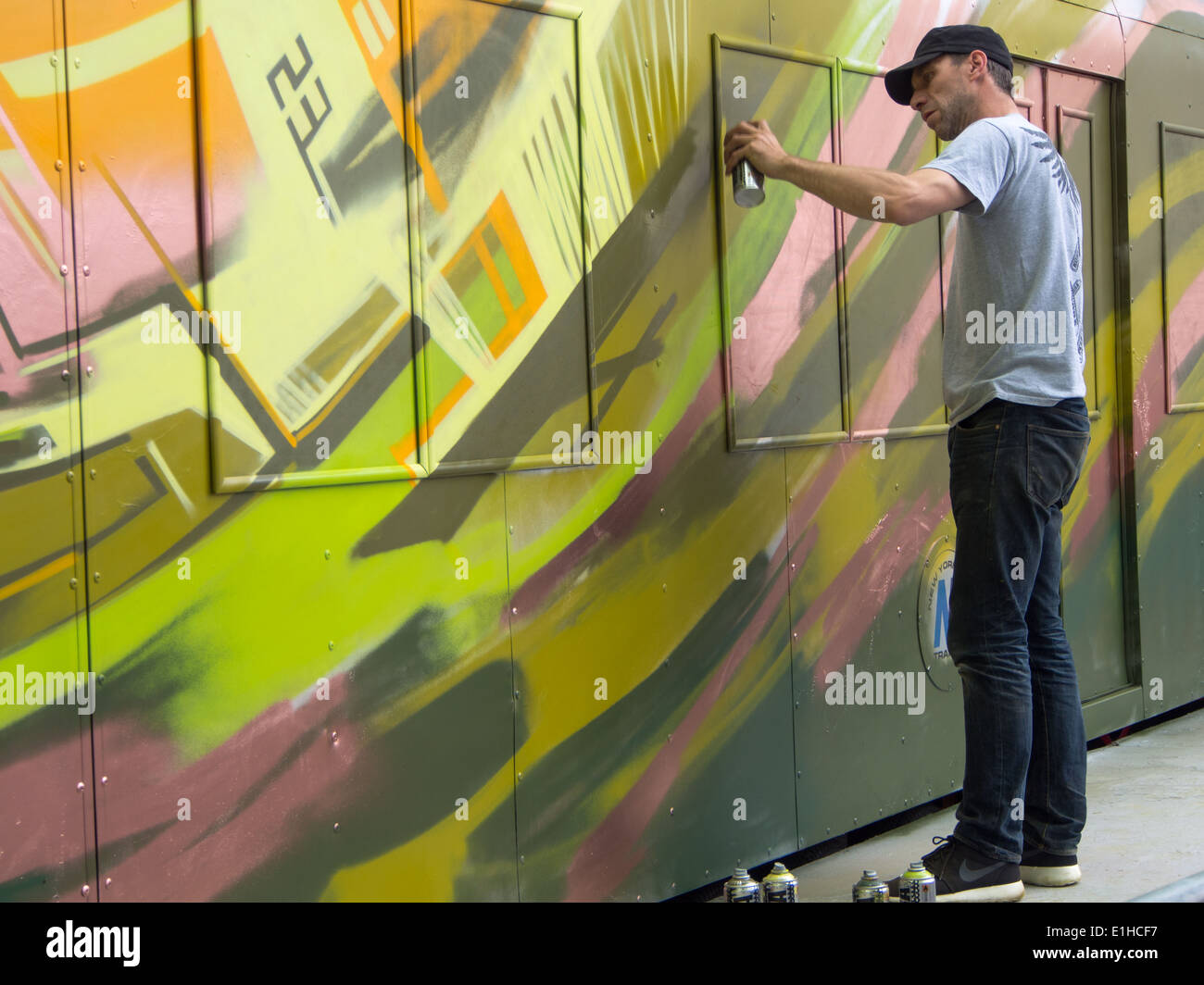 A replica New York city Subway Carriage is used as a canvas for a ...