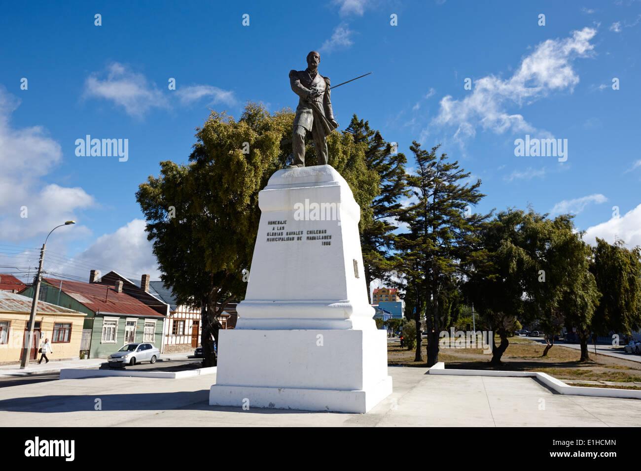arturo prat monument memorial av colon Punta Arenas Chile - Stock Image
