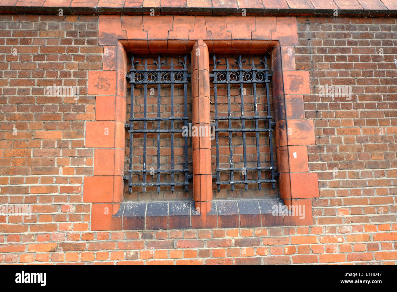 Iron bars across the bricked up window of a Jail at Bedford County