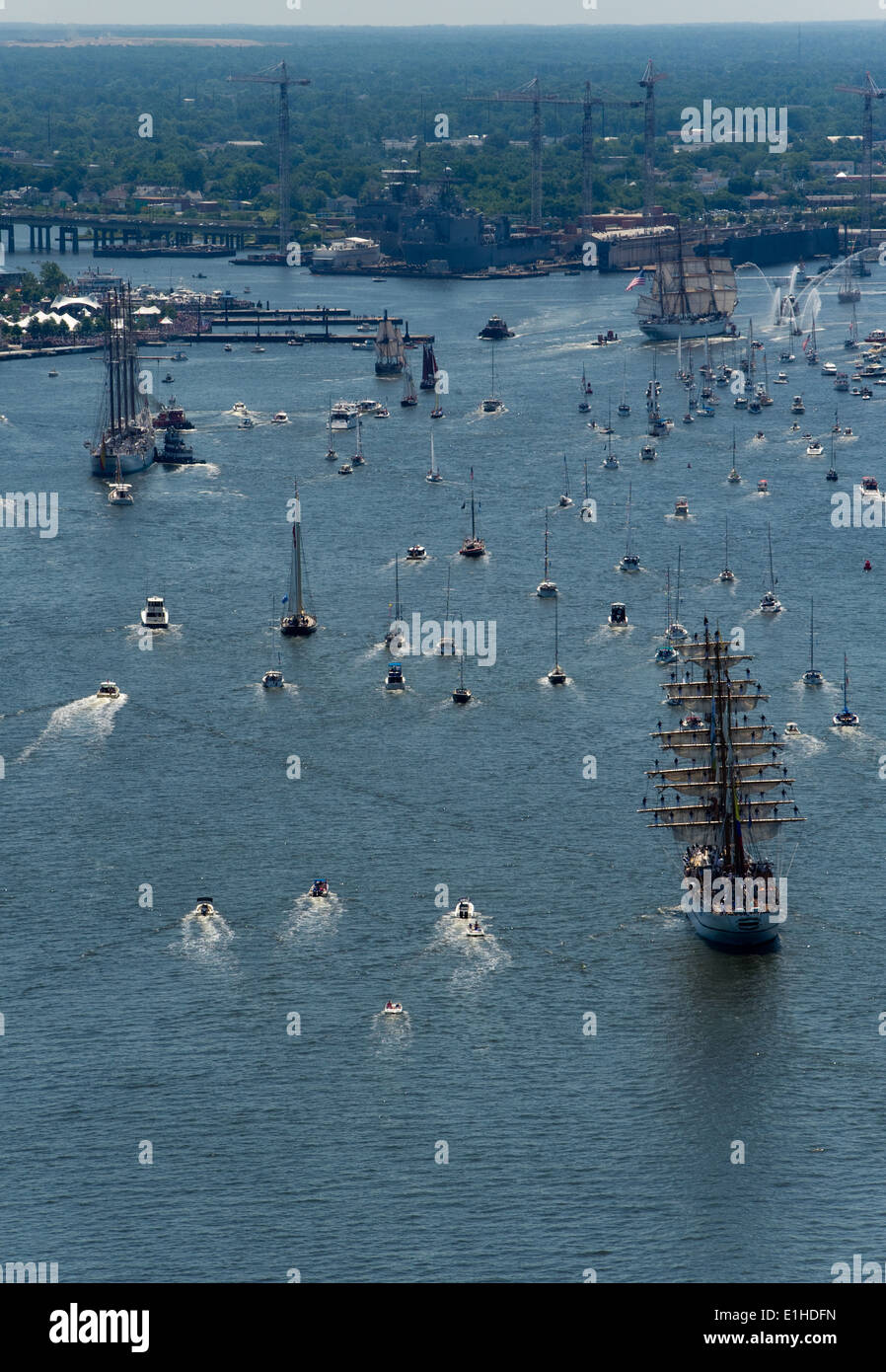 Ships participating in Operation Sail (OpSail) 2012 move toward the waterfront of downtown Norfolk, Va., June 8, 2012. OpSail 2 - Stock Image