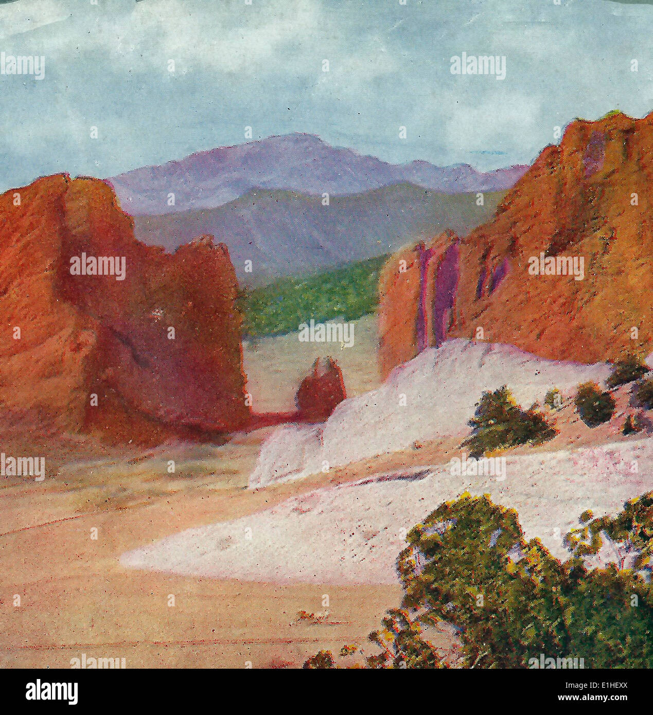 Pike's Peak and Gateway to the Garden of the Gods, Colorado, circa 1905 - Stock Image