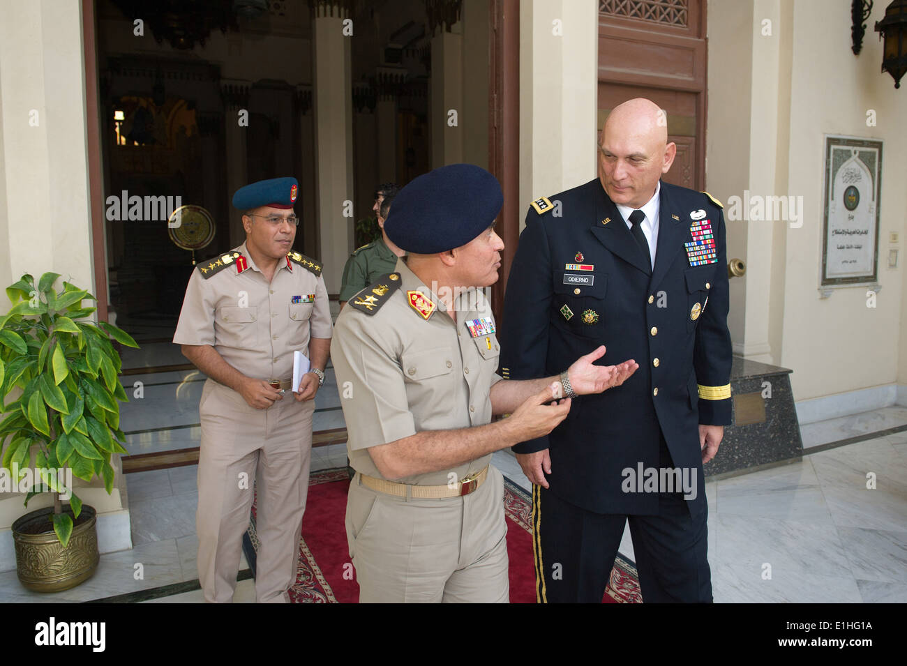 Egyptian army chief of staff Lt. Gen. Sedkhy Sobhy, left foreground, talks with Chief of Staff of the U.S. Army Gen. Raymond T. - Stock Image