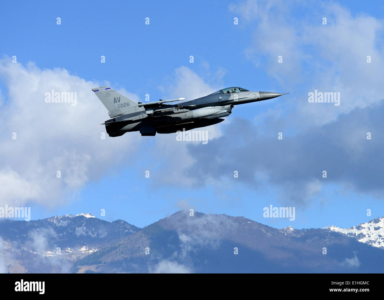 A U.S. Air Force F-16 Fighting Falcon aircraft assigned to the 510th Fighter Squadron takes off at Aviano Air Base, Italy, Apri - Stock Image