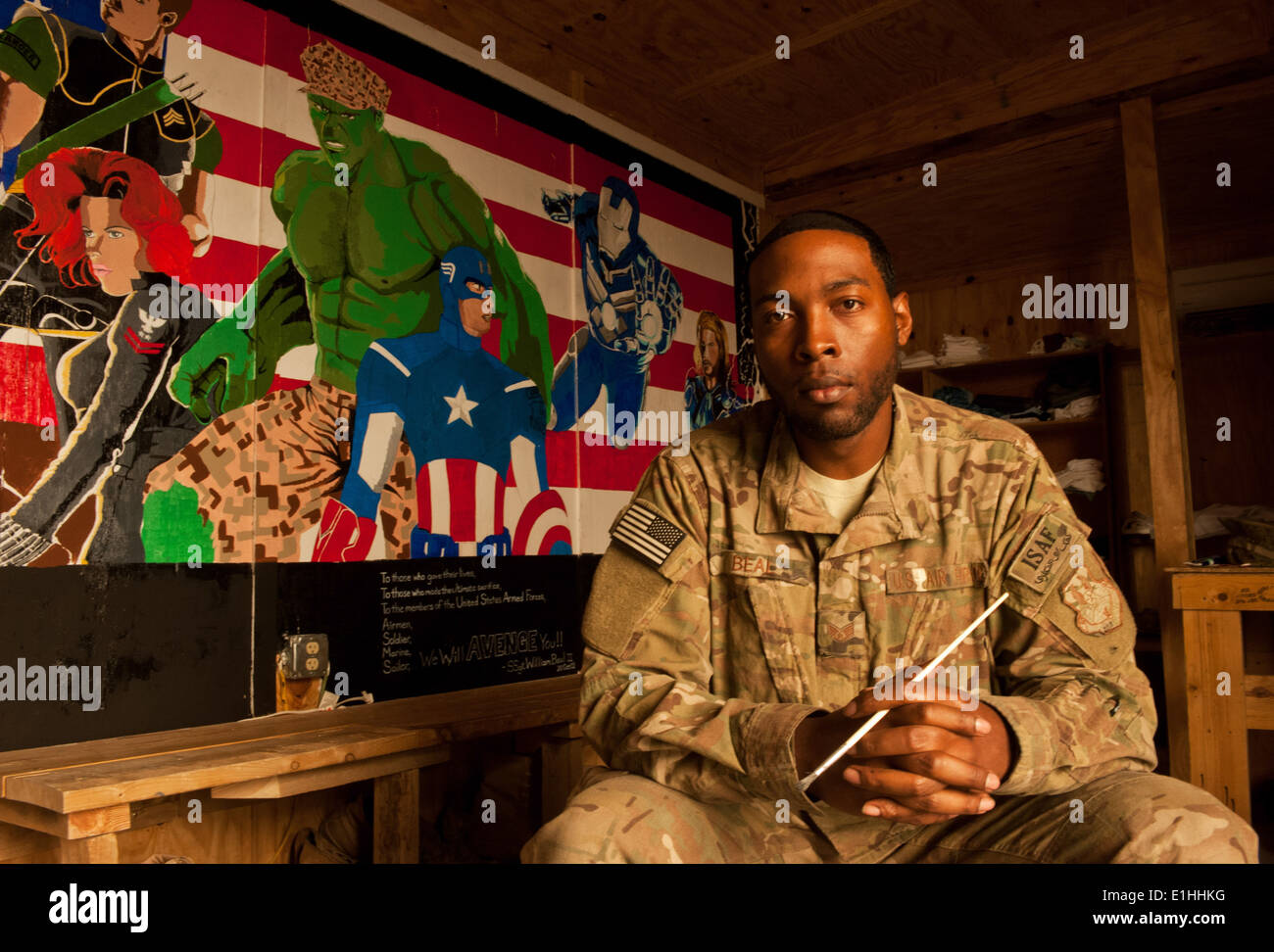 Staff Sgt. William Beal, an Airman assigned to 455th Expeditionary Logistics Readiness Squadron, pauses for a photo after finis Stock Photo