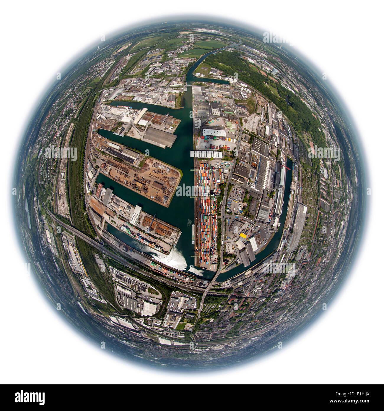 Aerial view, fisheye, Dortmund port with container terminal, Dortmund, Ruhr district, North Rhine-Westphalia, Germany - Stock Image