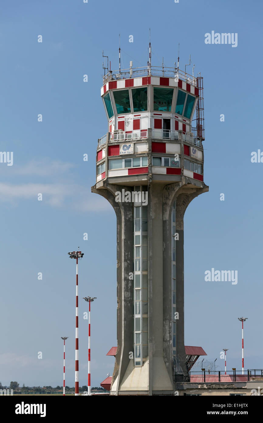 Tower of the air traffic control, Palermo International Airport, 'Falcone e Borsellino', Punta Raisi, Palermo, Sicily, Italy - Stock Image