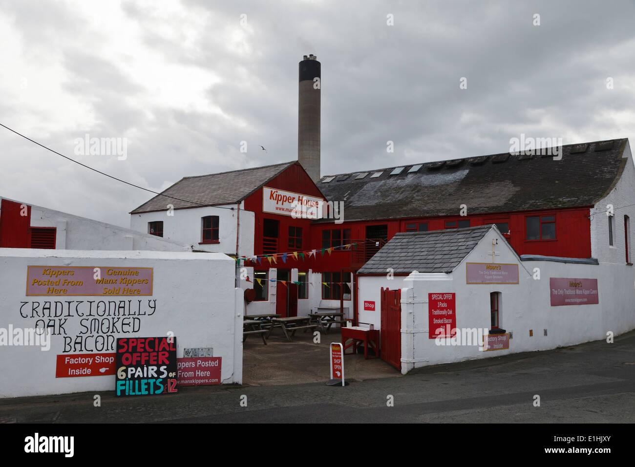 The 'Kipper House' smoked kipper factory, Peel, Isle of Man - Stock Image